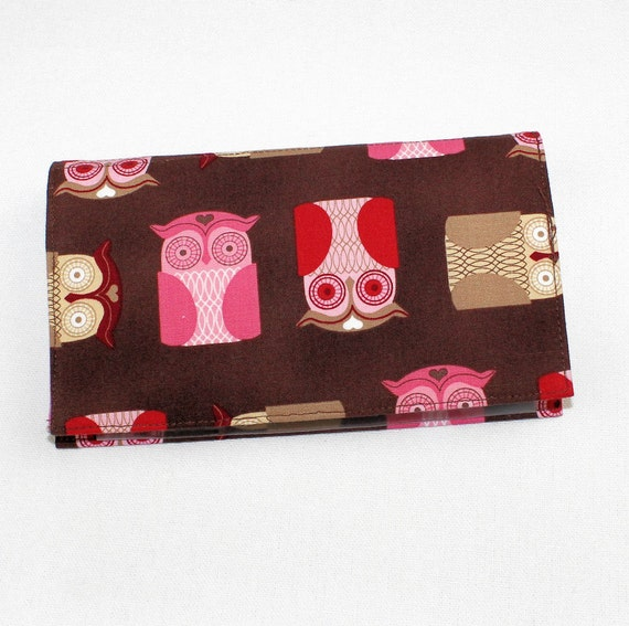 Owls Fabric Checkbook Cover for Duplicate Checks with Pen Holder