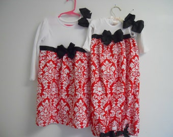 Boutique Red Damask Gown and Sister Dress Set