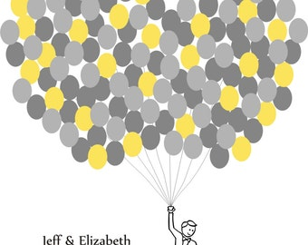 Wedding Guest Book Balloons Print for up to 150 Guests