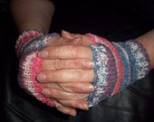 Hand Knitted Handwarmers in Red White and Blue
