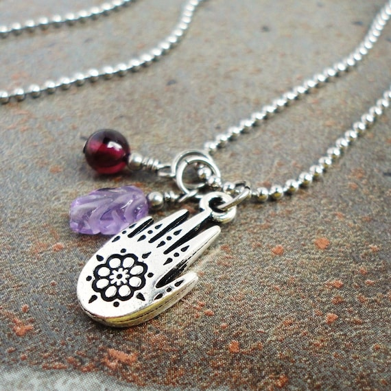 Henna Hand Charm And Gemstone Necklace Amethyst Garnet