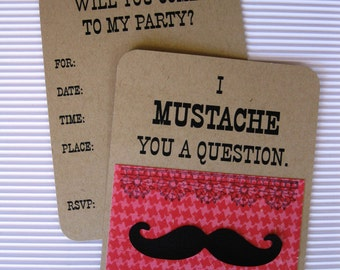 Girl's Mustache Party Invitation - Set of 8