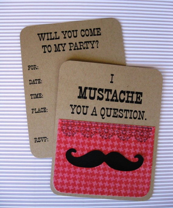 Girl s Mustache Party Invitation Set of 8