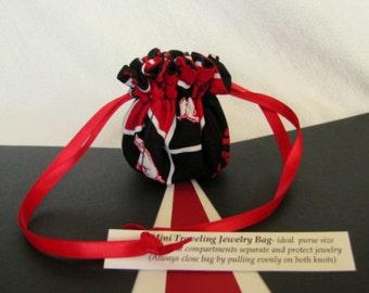 College Team Jewelry Bag - Mini Size - Drawstring Pouch - Fabric Tote - ARKANSAS RAZORBACKS