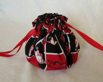 College Team Jewelry Bag - Medium Size - Drawstring Pouch - Travel Jewelry Tote - ARKANSAS RAZORBACKS