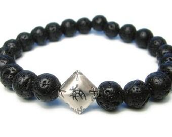Mens Bracelet | Lava Rock Bracelet | DREAM | Chinese Calligraphy | Dream, Strength, Clarity | Yoga Jewelry | Mens Bracelet | Mala Bracelet