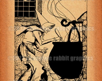 Vintage Halloween Witch Clip Art Drawing Printable Collage Scrapbook Image Sheet Witch of Endor