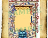 """Digital Graphic """"Medieval Greenman"""" Border - Clipart Page, Wiccan Pagan Pentacle BoS Book of Shadows"""