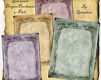 Digital Graphic Pages, Jewel toned Dragon 4 Pack,  Downloadable BoS Book of Shadows Celtic Wiccan