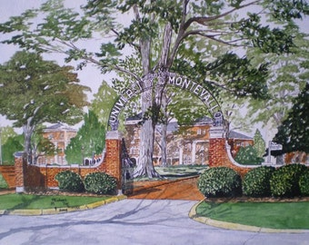 The Gates of the University of Montevallo Original Watercolor by Michael Joe Moore