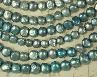 Aqua Pearls Side Drilled Nugget Freshwater - Full Strand (4205)