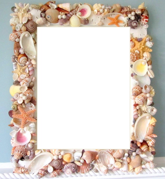 Beach Decor Seashell Frame Nautical Shell By Beachgrasscottage