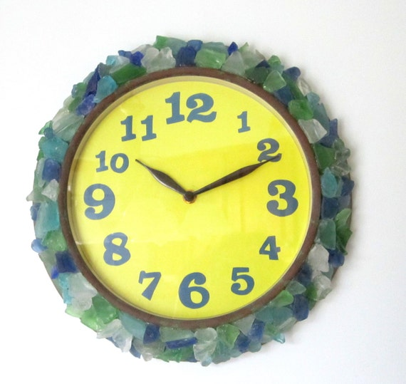 Beach Decor Sea Glass Wall Clock Nautical Funky Beach Glass Clock In