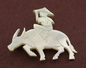 Vintage Mother of Pearl Carved BROOCH 1950's - Water Buffalo with Rider