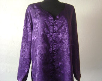 Ladies purple menswear nightshirt // Vintage 1980s Victorias Secret nightshirt