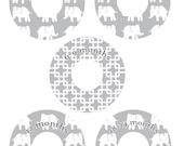 Custom Closet Dividers - ELEPHANT MARCH Gray,white, elephant, textile print