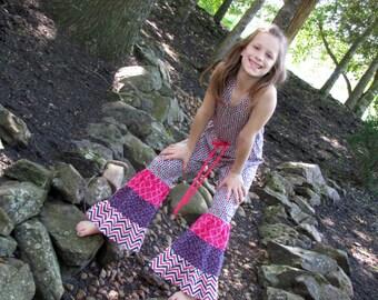 SAMPLE SALE  Girls Retro Hippie Jumpsuit Size 8.