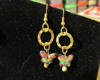 Earrings - Cloisonne Butterfly