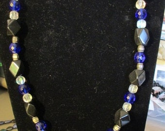 Necklace - Royal Blue and Black N0074