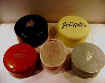 Instant Collection, Vintage Dusting Powder Boxes, Lot of 5, Arpege / Lanvin, Jean Nate / Revlon, Sophia /Coty, Heaven Sent /Rubensteinempty