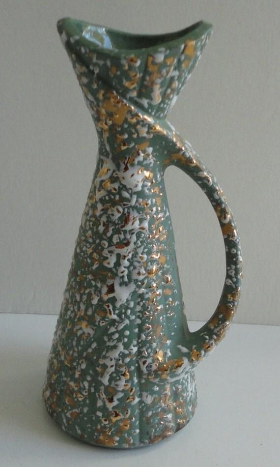 Savoy-Deena Products Mid Century Ceramic Vase. Sage Green Splatter gold and white.