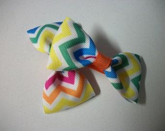 Baby Bows,Neon Chevron Print  Hair Bows,  Bow Tie Hair Bow Set of Two