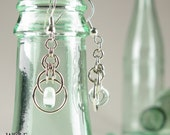 Eco Friendly Recycled Glass Bead Art Deco Chandelier Earrings Eclipse Drop Earrings
