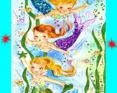 MERBABY FABRIC BLOCK Retro Mermaids Fabric Blocks Print Quilt Mermaid Applique for Quilting merb24.
