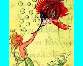 s460 1950's VINTAGE MERMAID RETRO Postcard Quilt Mermaid Fabric Block for Crafts & Sewing.