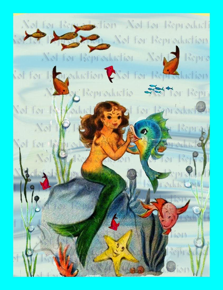 S440 Fabric Blocks Mermaid Retro Postcard Merbaby Mermaid