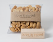 Love is Sweet and a Little Bit Nuts Wood Mounted Red Rubber Stamp with Engraved Top - Perfect for Nut Favors