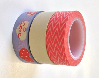 Washi Tape Set - 15mm - Combination Chevron Love II - Three Rolls Washi Tape   Bin 563, 30 and 605
