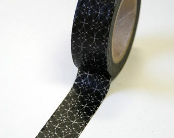 Washi Tape - 15mm - Overlapping Circles Medallion on Black - Deco Paper Tape no. 531
