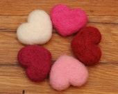 Needle Felted Hearts, Red Pink White Wool, Valentines Set of 5