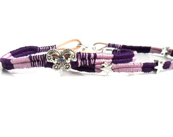 Leather bracelet hand woven in purple shades Ombre boho chic