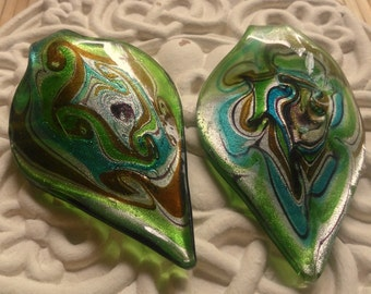 Large Green Dichroic Leaf Glass Pendant Focal 70-75mm by 40-47mm