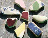 Beach Pottery Beauties. Jewelry Supply, Mosaic Supply. 8 Pieces. Undrilled. Lot C7