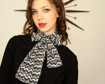 Vintage 1960s Rectangle Scarf Black White Monochrome Chevron Wave Sheer 60s MAD MEN Zig Zag Neckerchief Headscarf