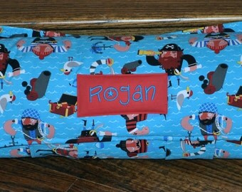 Nap Mat - Monogrammed Captain Red Beard Nap Mat with Red Double-sided Minky or Minky Dot Blanket