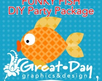 Funky Fish DIY Party Package Invite Thank You Banner Cupcake Toppers Favor Toppers
