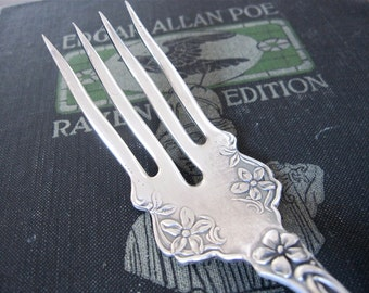 Victorian Fork, Silverplate Chipped Beef Serving Fork, Violet 1905 Pattern by S.L. & G.H. Rogers