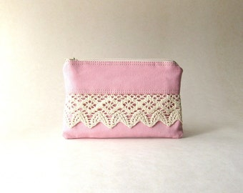 BLACK FRIDAY - Zipper Lace Coin Purse, bridal pouch - The Honey Coin Purse II in pink  cotton and cotton lace