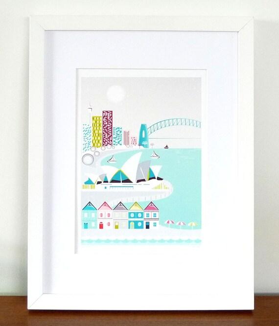 Baby Gifts Australia Sydney : Sydney print skyline opera house harbour by lauraamiss