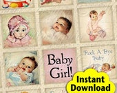 It's A Baby / Newborn Infant Toddler Vintage / Baby Shower - Printable INSTANT DOWNLOAD 1x1 Inch Square Tiles Digital JPG Collage Sheet