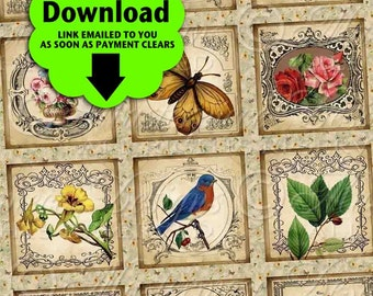 Vintage Garden / Flowers Floral Birds Butterflies Gardening Spring - Printable INSTANT DOWNLOAD 1x1 Inch Squares Digital JPG Collage Sheet