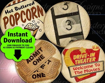 Movie Time / Hollywood Old Movies Popcorn Theater Ticket - Printable INSTANT DOWNLOAD 2.5 Inch Round Designs Digital JPG Collage Sheet