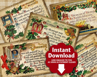 Vintage Christmas Greetings ACEO Tags - Printable Instant Download and Print Digital Sheet