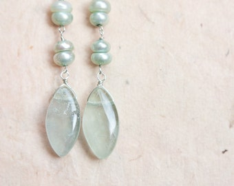 Mint Long Dangle Earrings Fluorite Pearl Sterling Silver pastel light blue seafoam wedding bridal jewelry