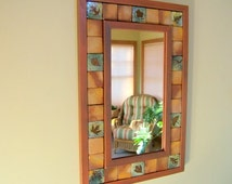 Medium Leaf Tile Mirror wall mirror hall mirror with Clay Red  Wooden Frame