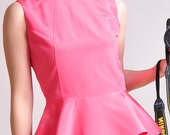 Hot Pink Silk Peplum Flared Hem Suit Top Sleeveless Victotrian Lady - yystudio
